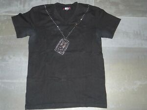 ancien t-shirt fashion club homme noir à strass HLS - taille M