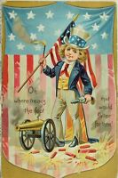 Circa 1910 4th Of July Uncle Sam Cannon Flag Embossed Vintage Postcard P54