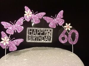 Birthday Cake Topper Cake Decoration Glitter Butterfly LILAC
