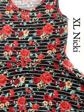 NWT LuLaRoe XL NICKI TANK TOP DRESS BLACK WHITE STRIPE RED YELLOW ROSES FLORAL