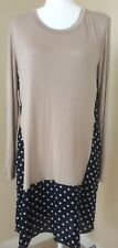 Women's Long Sleeve Casual Dress Beige And Polka Dot Patterns Size XL