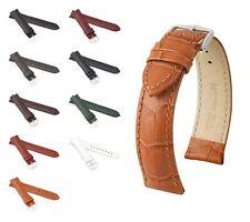 "HIRSCH Alligator Style Watch Band ""Duke"", 12-26 mm, 9 colors, new!"