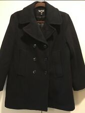 WOMAN'S PEA COAT NAVY BLUE DOUBLE BREASTED WOOL MADE IN USA SMALL / S