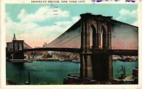 Vintage Postcard - Posted 1920's Brooklyn Bridge New York City NY #4282