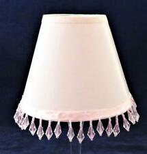 "Clip-On Lamp Shade, White Bell Dandles Pink Trim, 2 5/8"" x 5"" x 4"" H"
