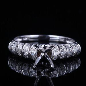 Beauty 6.25-7.25MM Round Cut 10K White Gold  Engagement Wedding Semi-Mount Ring
