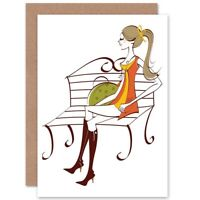 Painting Stylish Cartoon Park Bench Girl Blank Greeting Card With Envelope