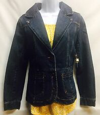 NEW Bill Blass Jeans Women's Denim Cotton Fitted Jacket Size Medium Blue Jean