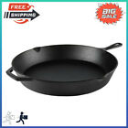 """Pre-seasoned 15"""" Cast Iron Skillet with Handle & Lips, Kitchen, Camping Cookware"""