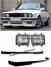 For 85-93 BMW E30 3-Series Front Bumper Clear Fog Lights Lamps W/ Lower Lip Kit