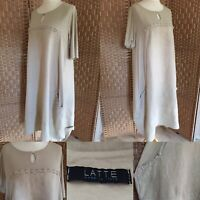 "LATTE Made In Italy ECRU 100% Linen BALLOON Dress Sz XL 14 16 L43"" POCKETS Arty"