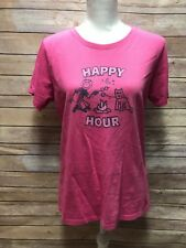 Life is Good Happy Hour sz M Women's S/S Bold Pink Crusher Tee Medium Dog camp