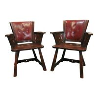 Romweber Viking Oak Vintage Antique Red Leather Back Captains Arm Chair  1939