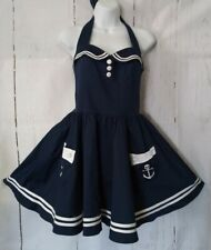 Hell Bunny Dress S Navy Blue Nautical Sailor Fit and Flare Sexy Vixen Sundress