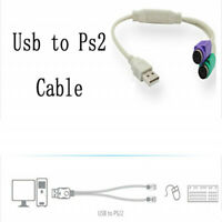USB Male to 2 USB PS2 Female Converter Adapter Splitte For Keyboard Mouse PS/2