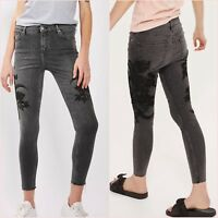 Topshop Petite Limited Black Embroidered Lace Crop Skinny Jeans W26 UK 8 US 4 ❤