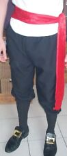 Mens Black Breeches PIrate Tudor Peasant Victorian Period Fancy Dress Trousers