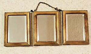 Antique Tri-Fold Shaving Mirror Victorian(?) Beveled Glass Chain