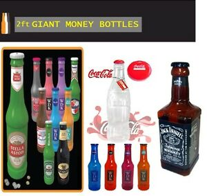 Large Stylish Money Bottles Moneyboxes Box Coins Notes Tin Plastic Piggy Bank