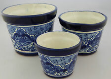 SET OF 3 MEXICAN TALAVERA POTTERY FOLK ART POT PLANTER CERAMIC 01