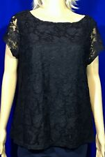 Fever LACE BLACK Cami Lined Top Cap Sleeve Shirt Floral Scoop Neck XL NWOT BCT1