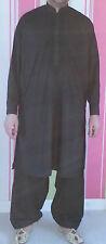 Hombre Bordado Indio Paquistaní Punjabí negro / blanco Kurta Salwar traje,S-XXXL