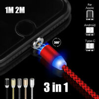 1M 2M 360° Magnetic Fast Micro USB Type-C For Apple 3 in 1 LED Charge Cable Lot