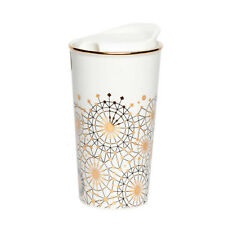 Manna™ Ceramic 10 Oz. Dandelion Travel Tumbler with Gold Accents - Beautiful