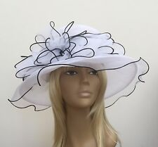 New Womens Black/White Organza Wedding Hat Mother Of The Bride/Groom Ascot Races