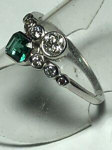 Platinum. Natural Emerald & Sparkling Diamond Ring. Size N. U.S. Size 7.