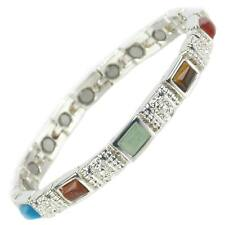 Ladies Magnetic Bracelet Faux Multi-Coloured Gemstones Magnets Health Therapy