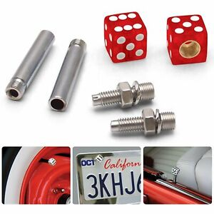 Clear Red with Sparkle Dice 2 Valve Cap, Door Plunger, Plate Bolt Combo Kit 350
