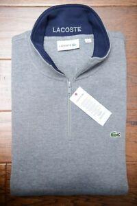 Lacoste SH1462 Men's 1/4 Zip Mock Neck Gray 100% Cotton Sweat Sweater 3XL 8