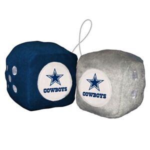 "Dallas Cowboys Fuzzy Dice NFL High Quality PLUSH 3"" Car Auto Truck Football"
