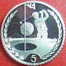 1996 ISLE OF MAN 5 PENCE SILVER PROOF GOLFER PLAYING GOLF BALL RARE COIN 18mm