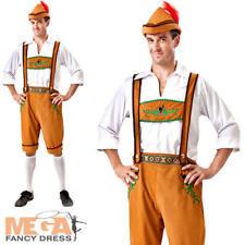 Oktoberfest Bavarian Beer Man Fancy Dress Mens Lederhosen Costume Adults Outfit