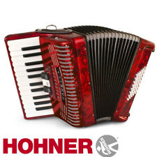Hohner Hohnica 1304 26 Key 3 Switch Piano Accordion - Red + Gig Bag and Straps