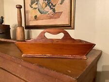 Antique Primitive Storage Box Knife Cutlery Tray Carrier Utensil - Heart Handle!