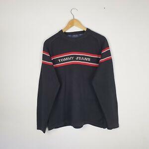 Men's Tommy Hilfiger Black Knitted Jumper Sweatshirt Large Spellout Vintage  L