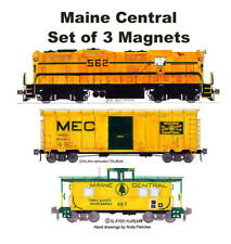 Maine Central GP7, 40' Box Car & Caboose set of 3 magnets Andy Fletcher