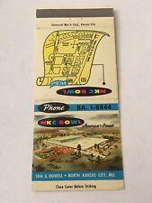 Vintage Matchbook Matchcover Nkc Bowl Bowling Kansas City Mo Unstruck