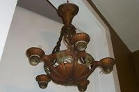 VTG 1920's Art Deco Lincoln Chandelier Antique Polychrome Ceiling Light Fixture