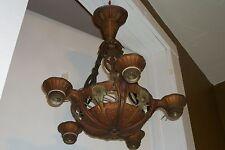 VTG 1920's Art Deco Lincoln Chandelier Antique Polychrome Ceiling Light Fixture