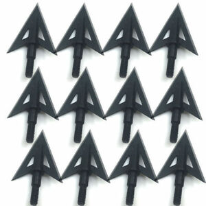12Pcs Metal Sharp Broadheads 2 Fixed Blade 100Grain Hunting Archery Arrow Heads