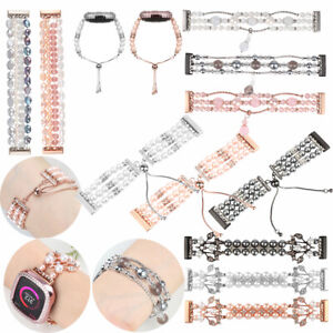 For Fitbit Versa 3 & Sense Women Luxury Stretch Pearl Beads Bracelet Straps Band