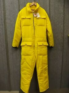 USA Made Vtg NEW Bright Yellow Hollofil Quilt Insulated Suit XL Johnson Garment
