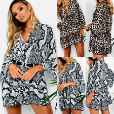 UK Womens Long Sleeve Ladies Asymmetric Party Jumper Ruffles Leopard Mini Dress