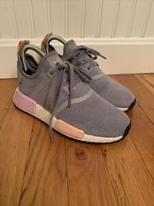 Adidas Originals NMD R1 Shoes Womens Size 6 B37647 LIGHT GRANITE CLEAR ORANGE
