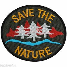 Save the Nature Energy Tree Water Love Earth World Olive Iron on Patch Cap #1297