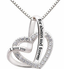 Sterling Silver Necklace Gift for Her I Love You Heart Pendant Birthday Wife Mom